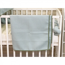 BABY NELLYS Detská, dojčenská deka 90 x 90 cm - vaflová, mätová