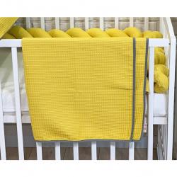BABY NELLYS Detská, dojčenská deka 90 x 90 cm - vaflová, horčicová
