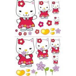 Nálepky, dekorácie na stenu 70x100 cm - Kočička s kytičkou