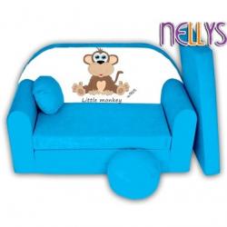 Rozkládací dětská pohovka Little Monkey Nellys - modrá