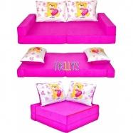 Rozkladací dětská pohovka de luxe - Míša růžový