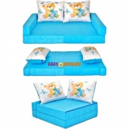 Rozkladací dětská pohovka de luxe - Míša modrý