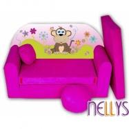 Rozkladacia detská pohovka Opička Nellys na lúke - ružová