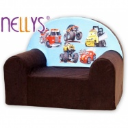 Dětské křesílko/pohovečka Nellys ® - Auta v hnědé