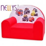 Detské kresielko / pohovečka Nellys ® - Autá v červenej