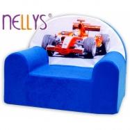 Detské kresielko / pohovečka Nellys ® - Formula v modrom