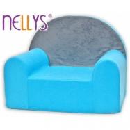 Detské kresielko / pohovečka Nellys ® - Šedá s modrou