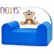 Detské kreslo Nellys - Opička Nellys modrá