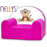 Detské kreslo Nellys - Opička Nellys ružová