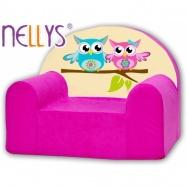 Detské kreslo Nellys - sovička Nellys ružové