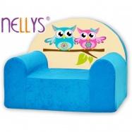 Detské kreslo Nellys - sovička Nellys modré