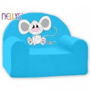 Detské kreslo Nellys - Myška v modrom