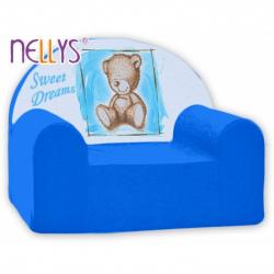 Detské kreslo Nellys - Sweet Dreams by Teddy - modrá