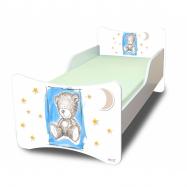 Dětská postel se zábranou Sweet Teddy - modrý, 200 x 90 cm