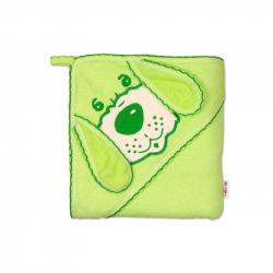 Detská osuška 80 x 80cm Psík s kapucňou - zelená
