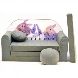 Rozkládací dětská pohovka Nellys ® 79R - Zajíčci v šedé