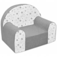Detské kresielko / pohovečka Nellys ® - Magic stars - sivé / biele