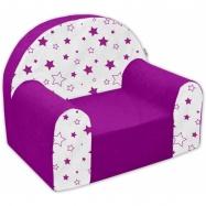 Detské kresielko / pohovečka Nellys ® - Magic stars - fialové