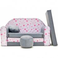 Rozkládací dětská pohovka Nellys ® 82R - Magic stars - šedé/růžové hvězdičky
