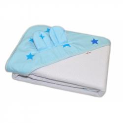 Detská termoosuška s uškami Baby Stars s kapucňou, 100 x 100 cm - biela, modré hviezdy