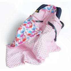 Baby Nellys Luxusné bavlnená dečka 3v1 s Minky, 90 x 90 cm, plameniaky, Minky - ružová