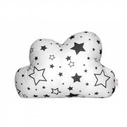 Mráček - dekoračné vankúšik - čierne hviezdy a hviezdičky