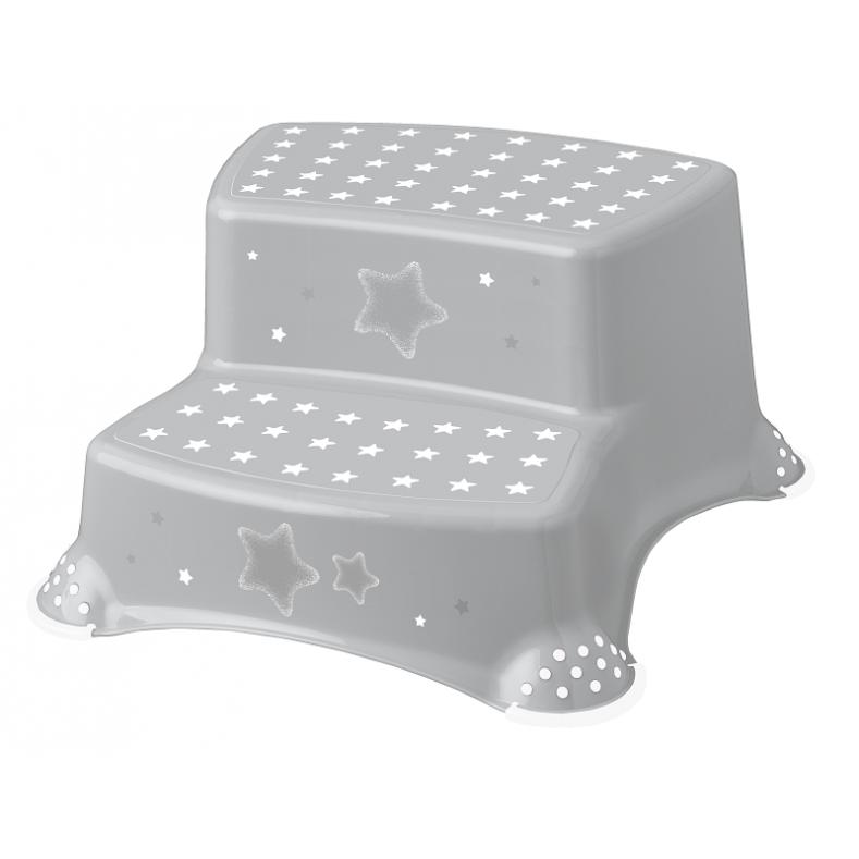 Stolička - schůdky s protiskluzem - šedé