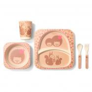 5 - dílná bambusová sada dětského nádobí - Ježek