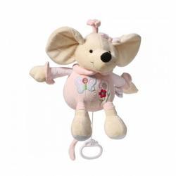 Plyšová hračka s hracím strojčekom Baby Ono Myška ružová 31cm