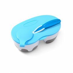 Dětská dvoukomorová miska s lžičkou Baby Ono modrá 200 a 150 ml