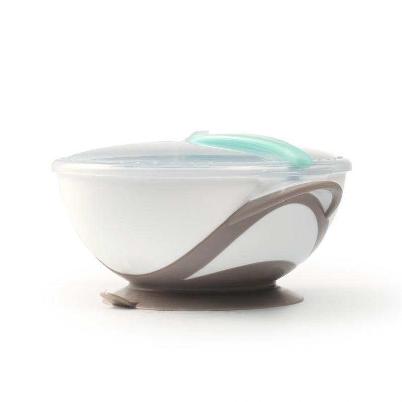 Dětská miska s přísavkou a lžičkou Baby Ono bílo-šedá