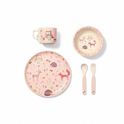 Bambusová sada nádobí pro děti Baby Ono Forest Pink