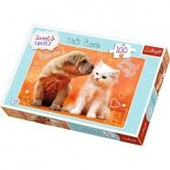 puzzle 100 - Šteňa a mačiatko