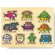 Drevené hračky - Vkladacie puzzle - Matematika počítanie do 15