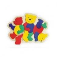 Drevené hračky - Vkladacie puzzle - Vkladačka - Medvedíci