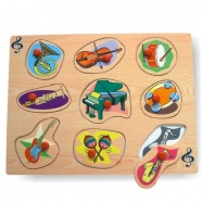 Dřevěné hračky - Vkládací puzzle Vkládačka Hudební nástroje