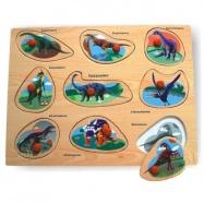 Drevené hračky - Vkladacie puzzle - Vkladačka - Dinosaury A