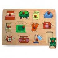 Dřevěné hračky - Vkládací puzzle - Vkládačka - Domácnost