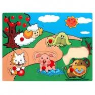 Dřevěné hračky - Vkládací puzzle Vkládačka Domácí zvířata C