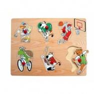 Drevené hračky - Vkladacie puzzle - Zvieratká športujú
