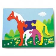 Drevené hračky - Vkladacie puzzle - Vkladačka - Kone