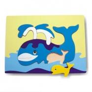 Dřevěné hračky - Vkládací puzzle - Vkládačka - Velryba