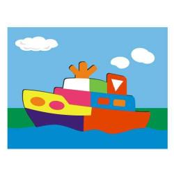 Dřevěné hračky - Vkládací puzzle - Vkládačka - Loď parník
