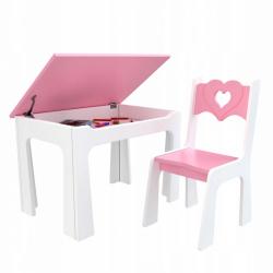 Dětský stůl s úložným prostorem a židlí Srdce - růžové