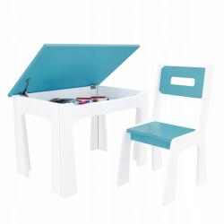 Dětský stůl s úložným prostorem a židlí modro-bílý