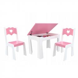 Dětský stůl s úložným prostorem a židlemi Srdce - růžové