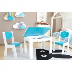 Dětský stůl s úložným prostorem a židlemi Mráček - modrý