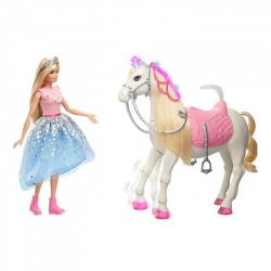 Barbie Przygody Księżniczek Lalka Barbie + koń światła i dźwięki
