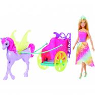 Barbie princezna v kočáru a pohádkový kůň