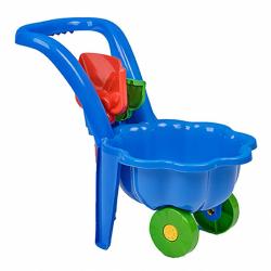 Dětské zahradní kolečko s lopatkou a hráběmi BAYO Sedmikráska modré